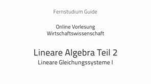 Lineare Algebra für Wirtschaftswissenschaftler II