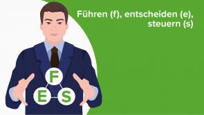 Führen (f), entscheiden (e), steuern (s)