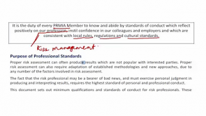 Standards of Best Practice PRM: Conduct, Ethics and PRMIA Governance