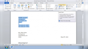 Auto Correct and Quick Parts in Word 2010