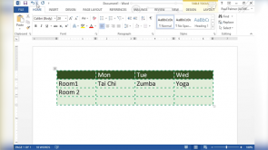 Adding Tables in Word 2013