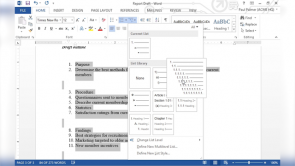 Managing Lists in Word 2013