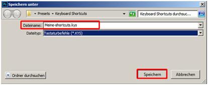 Dateiname für Shortcuts