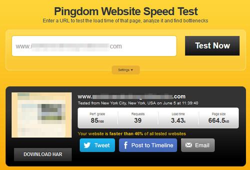 Pigdom Website Spped Test