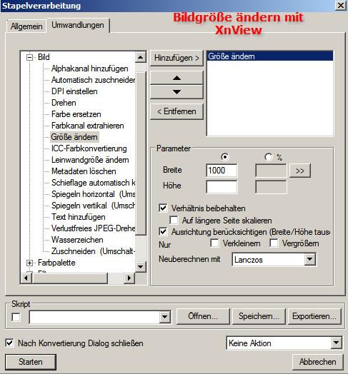 Bildgröße ändern mit Stapelverabeitung in XnView