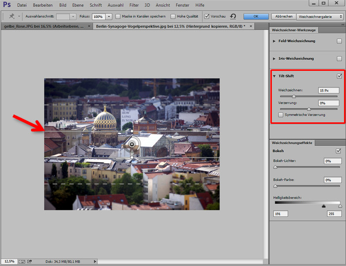 Tilt Shift Optionen in Photoshop