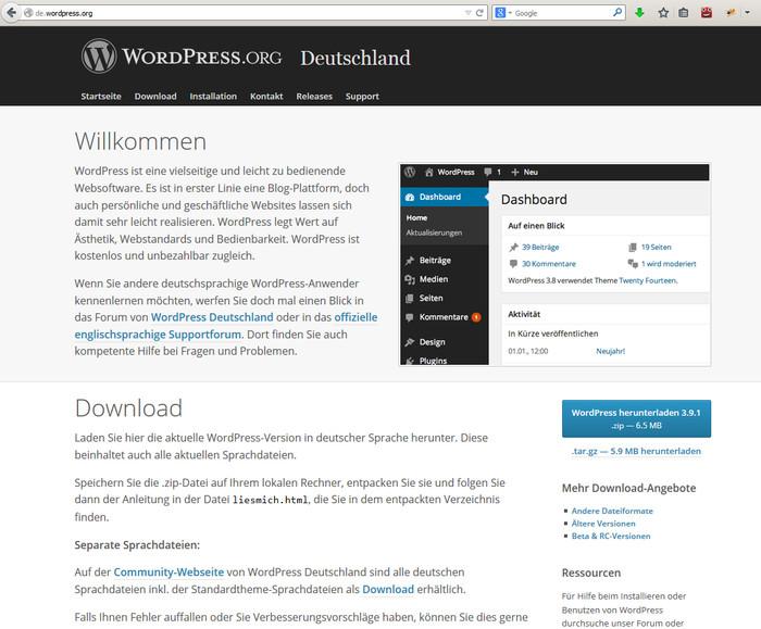 Download von WordPress