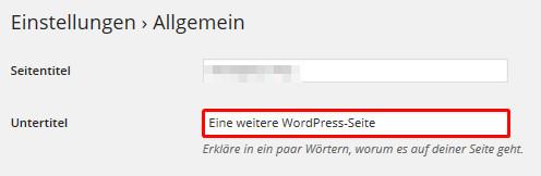 Untertitel des WordPress Blogs ändern