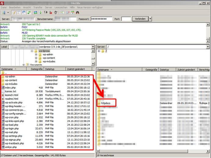 WordPress mit Filezilla auf Server per FTP übertragen