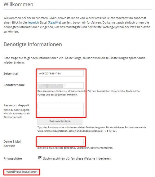 Installationsfenster WordPress