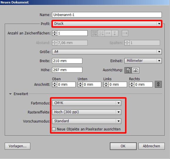 """Illustrator legt die Werte unter """"Erweitert"""" automatisch fest, wenn ein Profil ausgewählt wird."""