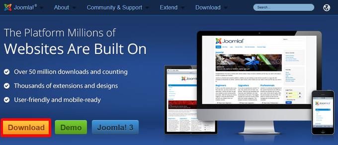 Downloadlink, Erweiterungen und Informationen auf der Website joomla.org