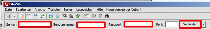 Programmfenster von FileZilla