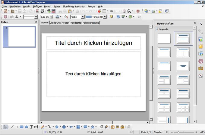Programmfenster für Präsentationen