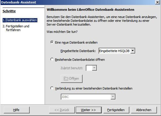 Der Datenbank-Assistent benötigt Informationen für die weitere Schritte