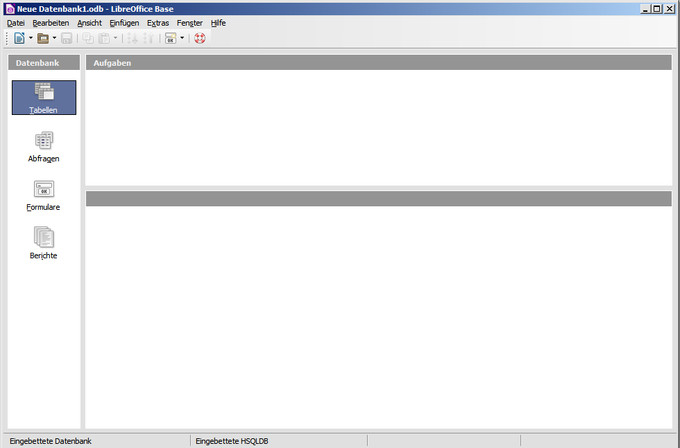 Datenbanken Programmfenster