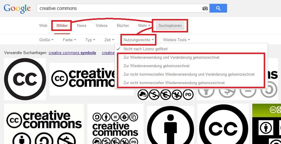 So können Sie bei Google nach freien Bildern suchen.