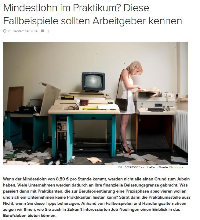 "Beitrag ""Mindestlohn im Praktikum"" im E-Learning Magazin"