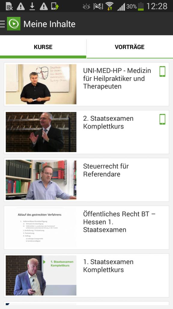 """Kursübersicht in der Rubrik """"Meine Inhalte"""""""