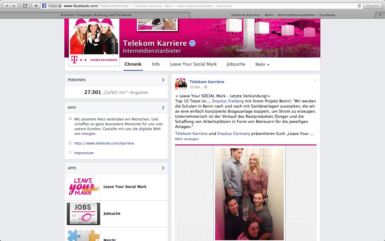 Die Facebook-Seite der Deutschen Telekom