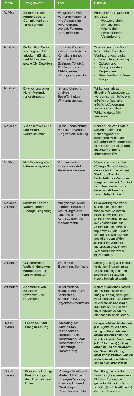 Tools zur Planung, Umsetzung, Stabilisierung und Korrektur von Change Projekten