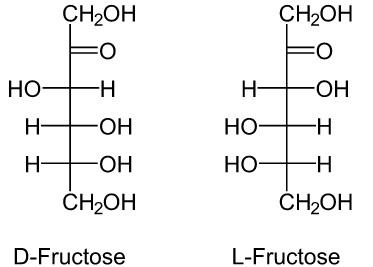 Schematische Darstellung der D-Fructose und L-Fructose