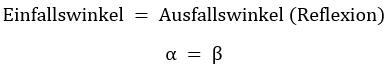 diese formel beschreibt das reflexionsgesetz