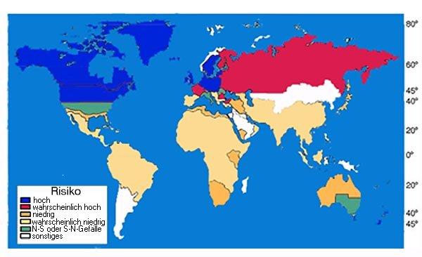 Geographische Risikoverteilung der multiplen Sklerose