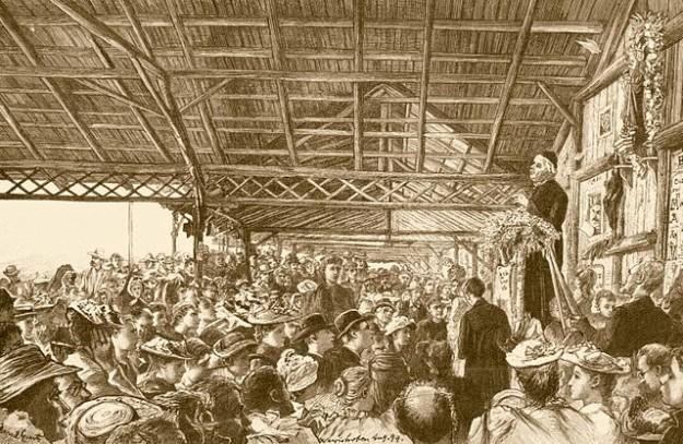 Ansprache des Pfarrers Sebastian Kneipp in der offenen Halle in Bad Wörishofen