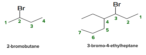 2-bromobutane and 3-bromo-4-ethylheptane