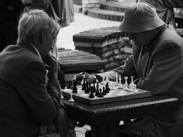 chess players in a park in Kiev