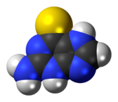 Space-filling model of the tioguanine molecule