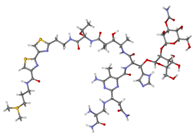 Ball-and-stick model of bleomycin molecule.