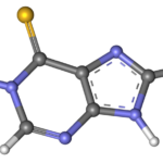 Ball-and-stick model of mercaptopurin molecule.