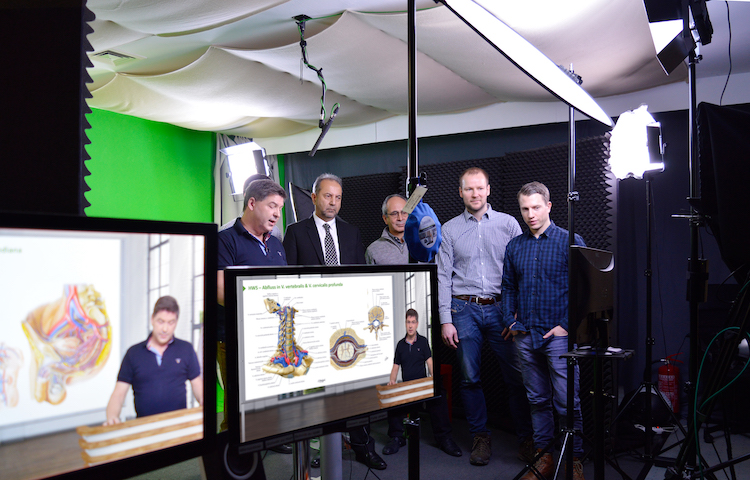 Dr. Azim Mosafer & Prof. Shriniaqa Zarif visiting Lecturio's modern green screen studio